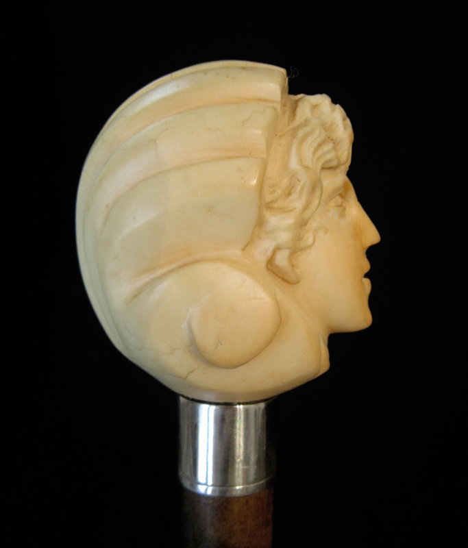 Victorian Ivory Hand Cane/ Male Face Walking Stick