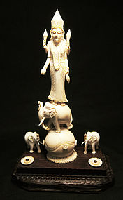 Ivory Sculpture, Deity and Elephant