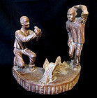 Folk Art Sculpture, Chicken Fight