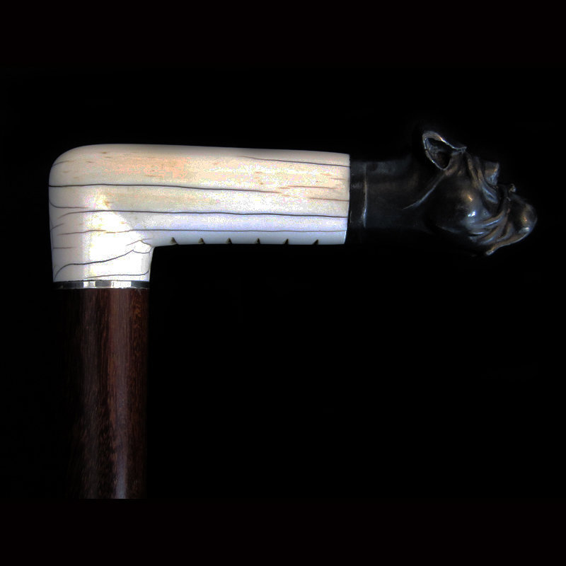 Ivory and Metal Dog Walking Stick