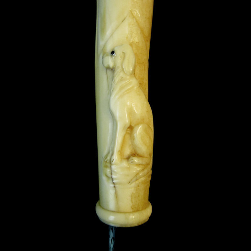 Victorian Ivory Dog Walking Stick, Carved in Relief