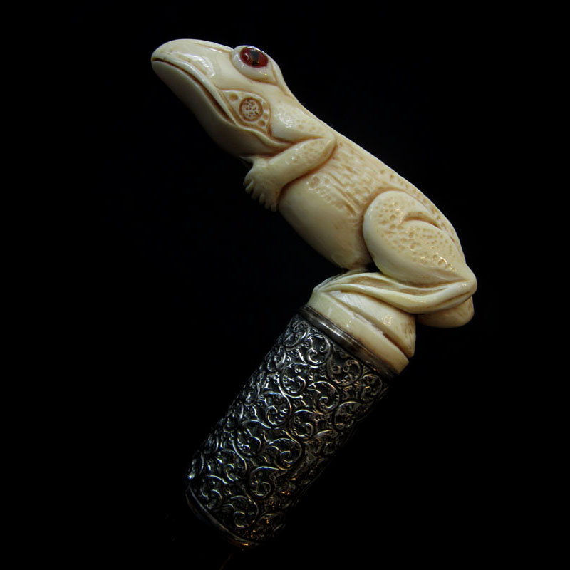 Ivory Frog Walking Stick, 1894