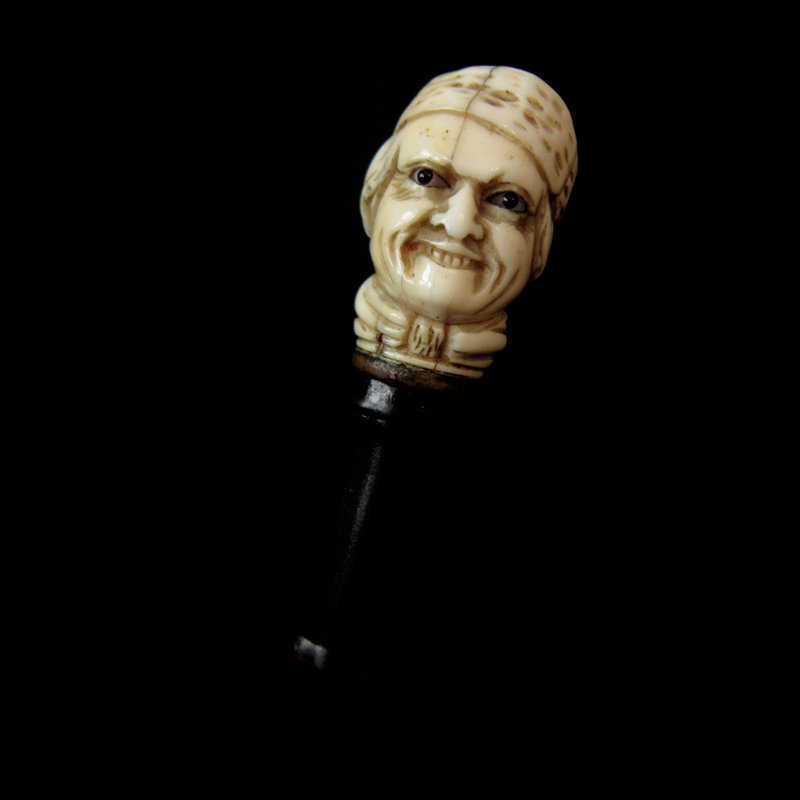 Ivory Carved Man Walking Stick with Sword