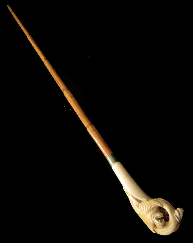 Ivory Two Lions Sword Walking Stick