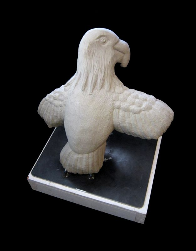 Eagle on Stand, Tim Lewis Stone Sculpture