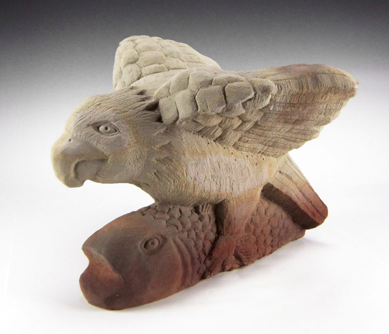 Eagle Catching Fish Sculpture by Tim Lewis