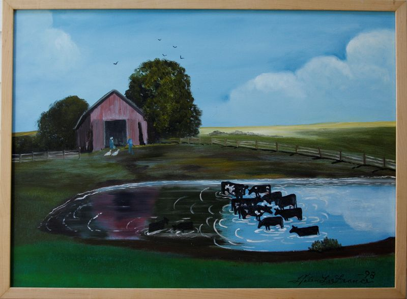 Cows in a Pond by Helen LaFrance