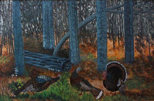 Turkeys in the Woods by Helen LaFrance