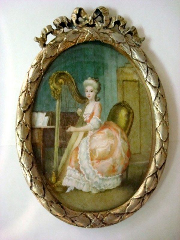 Antiques Miniature Watercolor Painting On Ivory, Portrait/Comtesse