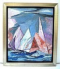 Sailboat Painting Modernism, Oil, Alfons Bach Florida Sailboats