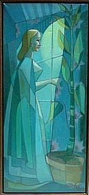 Surreal Painting Modernist Portrait Lady in Green, Mid-Century