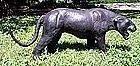 "Leather Panther Sculpture 35"" Long Vintage"