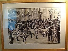 Red Grooms Drawing of the Moulin Rouge 1992 Original