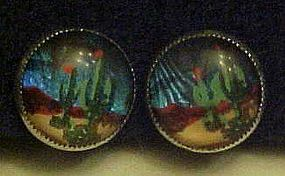 Vintage butterfly wing silver earrings  with desert