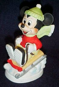 Disney hand painted Mickey Mouse sledding figurine