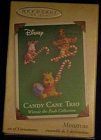 Hallmark  mini Disney candy cane Trio  Pooh ornaments