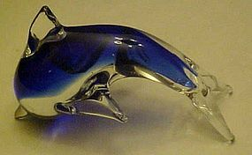 Hand blown blue and clear glass dolphin figurine