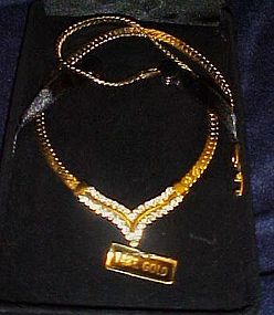 Glam gold plate necklace with Austrian crystal set cent