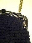 Ladies vintage  art deco black crochet purse