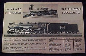 Burlington locomotives worlds fair expo postcard 1934