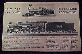 Burlington locomotives worlds fair expo postcard 1934