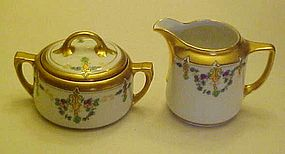 Great Nippon hand painted WA Pickard creamer & sugar