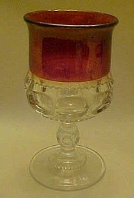 Tiffin kings crown water goblet ruby flashed  5 3/4""