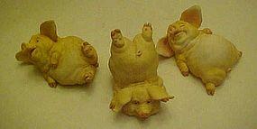 Frolicking pig  figurine trio from Home Interior