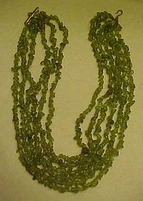 Genuine 8 strand natural peridot chip necklace