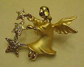 Vintage Gigi Guisti Angel  with stars lapel pin
