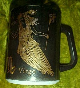 Federal black and gold zodiac mug Virgo the virgin