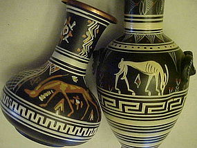 Vintage  hand painted copper vases from Greece