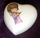 Vintage Karen Carson porcelain heart box with candle