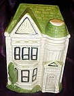 Green and Tan  ceramic Victorian house cookie jar