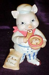Cute bisque pig  chef figurine  BC Srilanka
