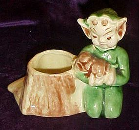 Walker-Renaker pixie Brownie by stump toothpick holder