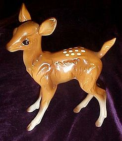 Delicate hand painted ceramic fawn figurine, deer