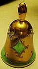 Bohemia Crystalex green & gold ornate bell Czech Rep.