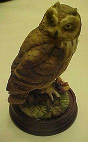 Nice porcelain owl figurine on wood base.