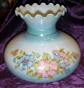 Beautiful hand painted blown glass shade blue & floral