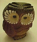 Mixed glaze stoneware owl figurine