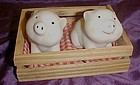 Pigs in a pen bisque porcelain salt  and pepper shakers