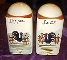 Old hand painted black rooster shakers