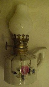 Miniature lamp with roses, milk glass shade