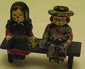 Old Dalecraft metal Amish couple on bench s&p shakers