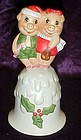 Holiday pigs porcelain Christmas bell