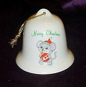 Russ porcelain Christmas bell ornament with mouse