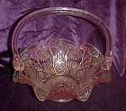 Beautiful large pink pressed pattern  glass basket