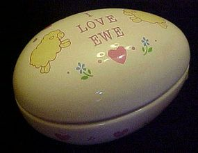 Russ porcelain egg shape box I LOVE EWE