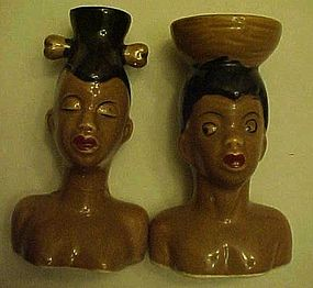 Vintage African natives heads salt and pepper shakers
